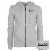 ENZA Ladies Grey Fleece Full Zip Hoodie-Strategic Sourcing