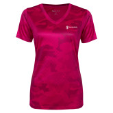 Ladies Pink Raspberry Camohex Performance Tee-Newport News Shipbuilding