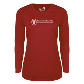 Ladies Syntrel Performance Cardinal Longsleeve Shirt-Newport News Shipbuilding