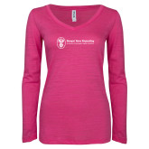 ENZA Ladies Hot Pink Long Sleeve V Neck Tee-Newport News Shipbuilding
