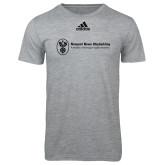 Adidas Sport Grey Logo T Shirt-Newport News Shipbuilding
