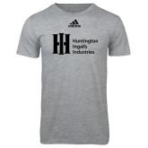 Adidas Sport Grey Logo T Shirt-Huntington Ingalls Industries