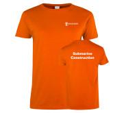 Ladies Orange T Shirt-Submarine Construction