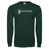 Dark Green Long Sleeve T Shirt-Newport News Shipbuilding