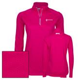 Ladies Pink Raspberry Sport Wick Textured 1/4 Zip Pullover-IPPC