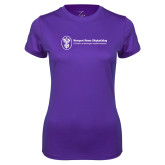 Ladies Syntrel Performance Purple Tee-Newport News Shipbuilding