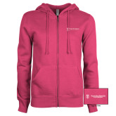 ENZA Ladies Fuchsia Fleece Full Zip Hoodie-Business Management