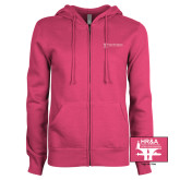 ENZA Ladies Fuchsia Fleece Full Zip Hoodie-HR and A
