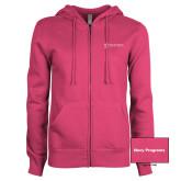 ENZA Ladies Fuchsia Fleece Full Zip Hoodie-Navy Programs