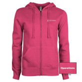 ENZA Ladies Fuchsia Fleece Full Zip Hoodie-Operations