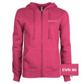 ENZA Ladies Fuchsia Fleece Full Zip Hoodie-CVN 80 and 81