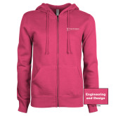 ENZA Ladies Fuchsia Fleece Full Zip Hoodie-Engineering and Design