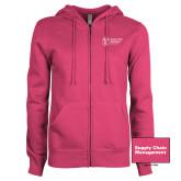 ENZA Ladies Fuchsia Fleece Full Zip Hoodie-Strategic Sourcing