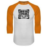 White/Orange Raglan Baseball T Shirt-NNS Vintage