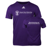 Adidas Purple Logo T Shirt-Manufacturing and Material Distribution