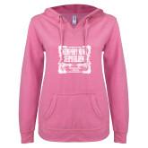 ENZA Ladies Hot Pink V Notch Raw Edge Fleece Hoodie-NNS Vintage