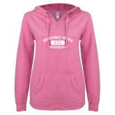 ENZA Ladies Hot Pink V Notch Raw Edge Fleece Hoodie-NNS College Design