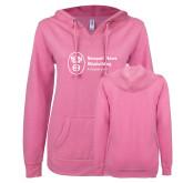 ENZA Ladies Hot Pink V Notch Raw Edge Fleece Hoodie-ISCVN