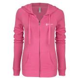 ENZA Ladies Hot Pink Light Weight Fleece Full Zip Hoodie-Newport News Shipbuilding