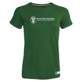 Ladies Russell Dark Green Essential T Shirt-Newport News Shipbuilding