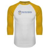 White/Gold Raglan Baseball T Shirt-Newport News Shipbuilding