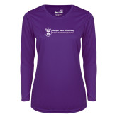 Ladies Syntrel Performance Purple Longsleeve Shirt-Newport News Shipbuilding