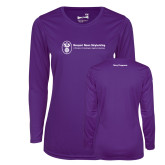 Ladies Syntrel Performance Purple Longsleeve Shirt-Navy Programs