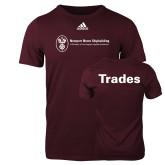 Adidas Maroon Logo T Shirt-Trades