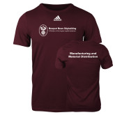 Adidas Maroon Logo T Shirt-Manufacturing and Material Distribution