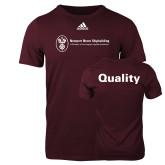 Adidas Maroon Logo T Shirt-Quality