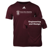 Adidas Maroon Logo T Shirt-Engineering and Design