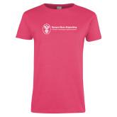 Ladies Fuchsia T Shirt-Newport News Shipbuilding