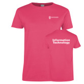 Ladies Fuchsia T Shirt-Information Technology