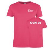 Ladies Fuchsia T Shirt-CVN 80 and 81