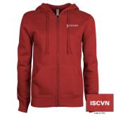 ENZA Ladies Cardinal Fleece Full Zip Hoodie-ISCVN