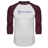White/Maroon Raglan Baseball T Shirt-Newport News Shipbuilding