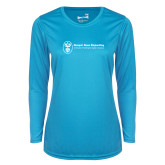 Ladies Syntrel Performance Light Blue Longsleeve Shirt-Newport News Shipbuilding