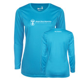 Ladies Syntrel Performance Light Blue Longsleeve Shirt-Navy Programs
