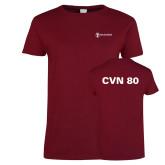 Ladies Cardinal T Shirt-CVN 80 and 81