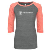 ENZA Ladies Dark Heather/Coral Vintage Baseball Tee-Newport News Shipbuilding