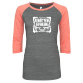 ENZA Ladies Dark Heather/Coral Vintage Baseball Tee-NNS Vintage