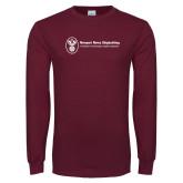 Maroon Long Sleeve T Shirt-Newport News Shipbuilding