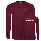 Maroon Long Sleeve T Shirt-Submarine Construction
