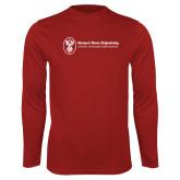 Performance Cardinal Longsleeve Shirt-Newport News Shipbuilding