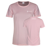 Ladies Performance Light Pink Tee-Manufacturing and Material Distribution
