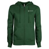 ENZA Ladies Dark Green Fleece Full Zip Hoodie-Newport News Shipbuilding