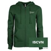 ENZA Ladies Dark Green Fleece Full Zip Hoodie-ISCVN