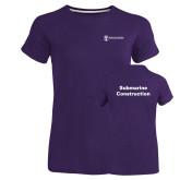 Ladies Russell Purple Essential T Shirt-Submarine Construction