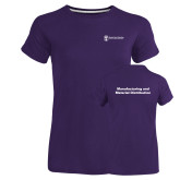 Ladies Russell Purple Essential T Shirt-Manufacturing and Material Distribution