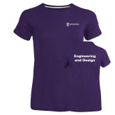 Ladies Russell Purple Essential T Shirt-Engineering and Design